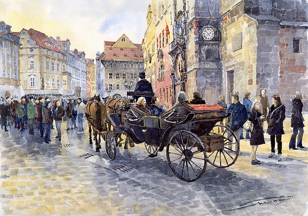 Watercolour Painting - Prague Old Town Hall And Astronomical Clock by Yuriy  Shevchuk