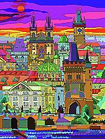 Prague Mixed Media - Prague Panorama Old Town by Yuriy  Shevchuk