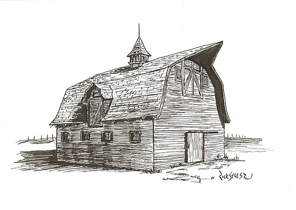 Barn Drawing - Prairie Barn by Rick Stoesz