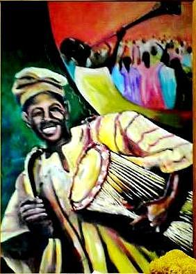 Blowing Trumpet Painting - Praise by Wale Adeoye