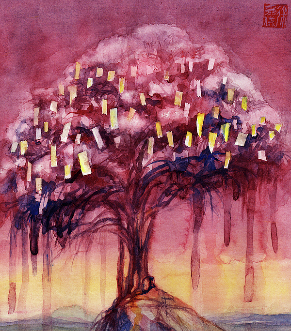Tree Painting - Prayer Tree II by Janet Chui