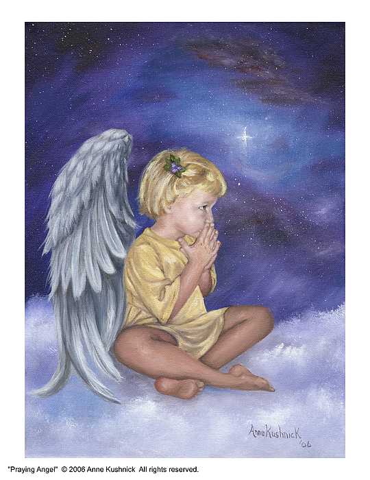 Christmas Painting - Praying Angel by Anne Kushnick