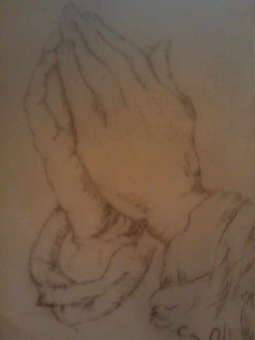 Praying Hands Drawing by David Moultry