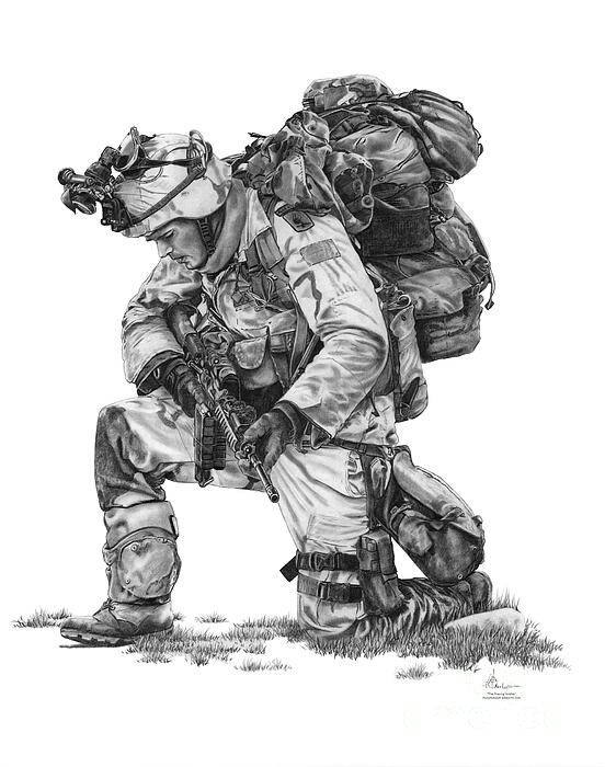 Pencil Drawing - Praying Soldier by Murphy Elliott