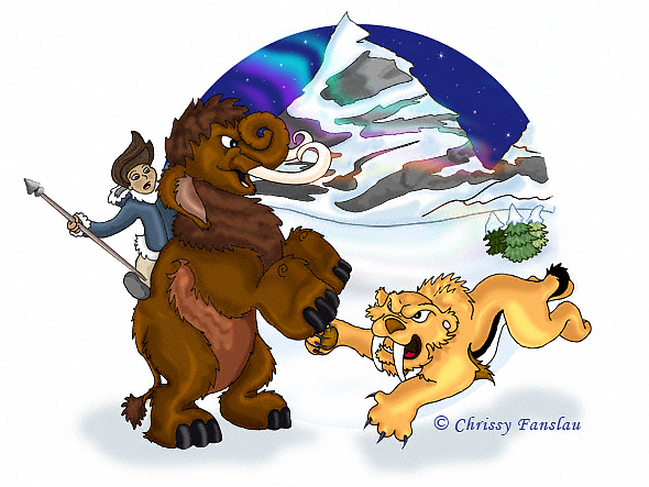 Mammoth Painting - Prehistoric Hunt by Chrissy Fanslau