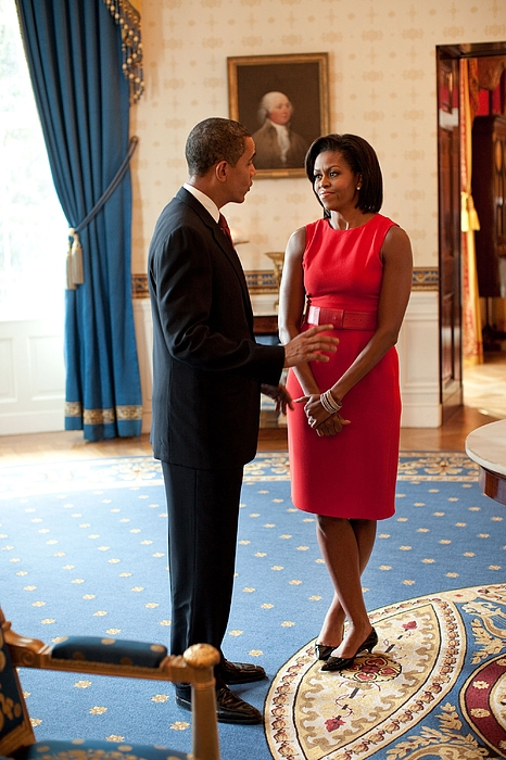 History Photograph - President And Michelle Obama Talk by Everett