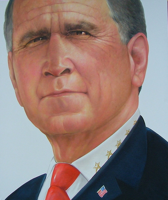Portrait Painting - President George W. Bush by Gary Kaemmer