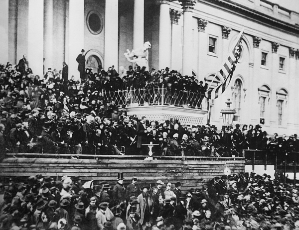 abraham Lincoln  Photograph - President Lincoln Gives His Second Inaugural Address - March 4 1865 by International  Images