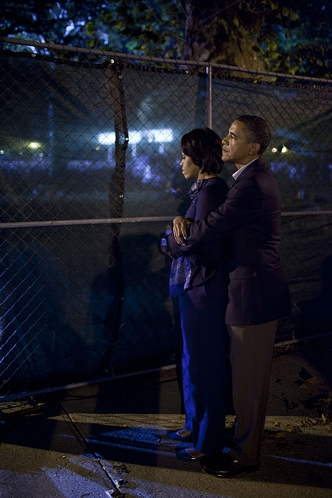 History Photograph - President Obama Embraces Michelle by Everett