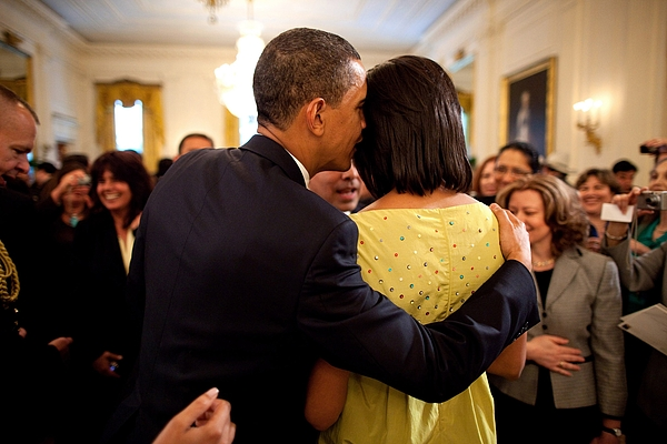 History Photograph - President Obama Whispers Into Michelles by Everett