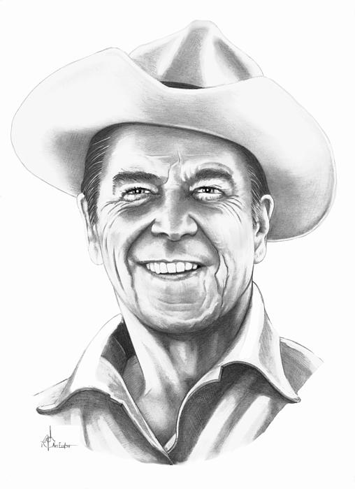 Drawing Drawing - President Ronald Regan by Murphy Elliott