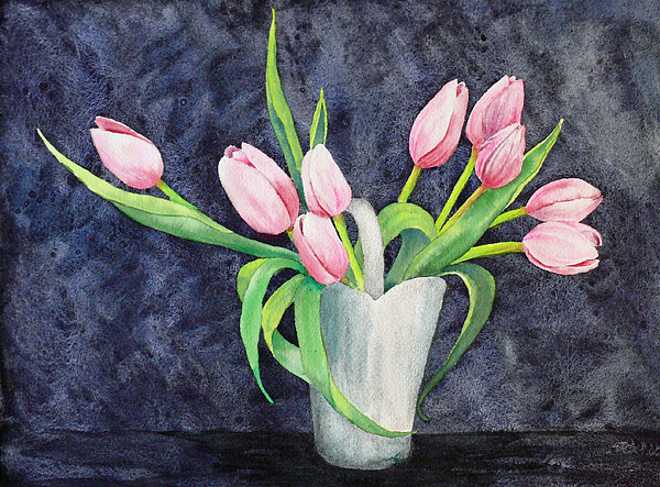 Watercolor Painting - Pretty Pink Tulips by Dee Carpenter