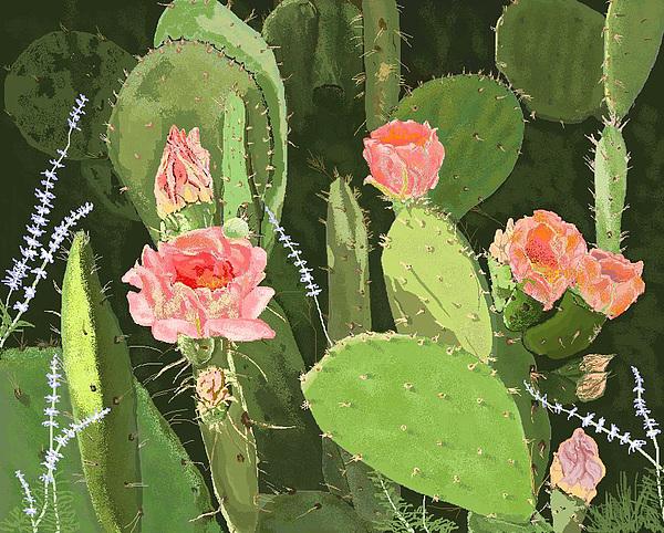 Cactus Digital Art - Prickly Pear by Carole Boyd