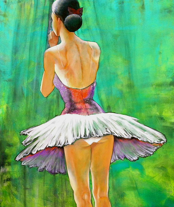 Ballet Dancers Painting - Primera Llamada by Thelma Zambrano