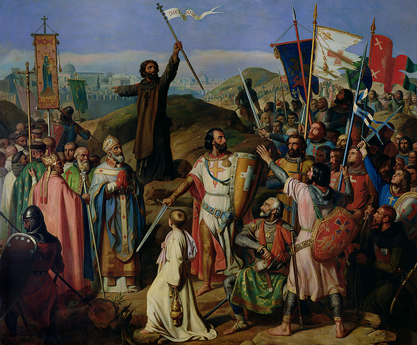 Procession Painting - Procession Of Crusaders Around Jerusalem by Jean Victor Schnetz