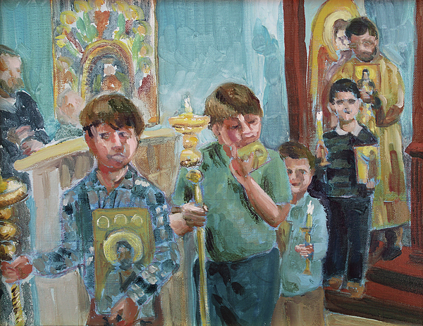 Orthodox Painting - Procession With Icons by Laura Wilson