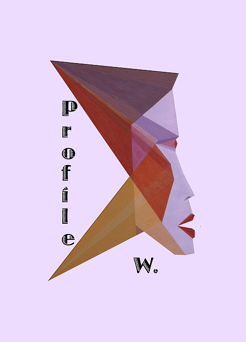 Painting Painting - Profile W. Text by Michael Bellon