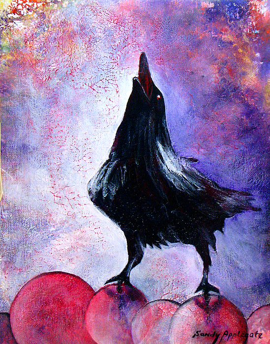 Raven Painting - Prophet by Sandy Applegate