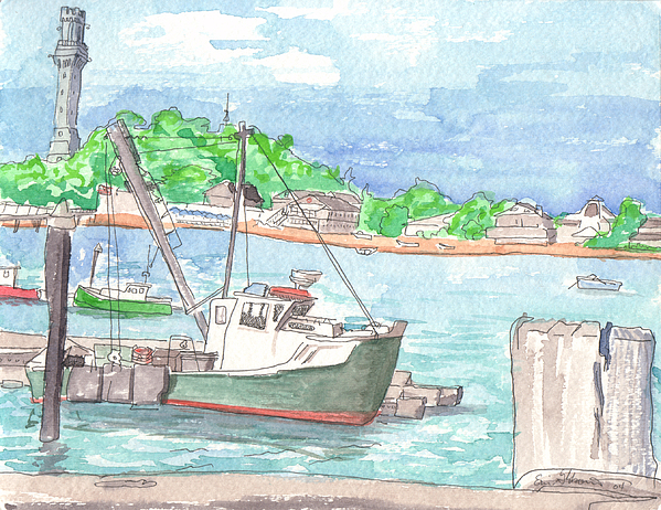Provincetown Painting - Provincetown Dock by E Gibbons
