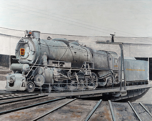 Coal Painting - Prr M1 On Turntable Altoona Pa by Paul Cubeta