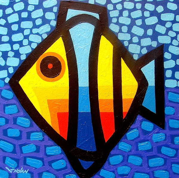 Abstract Painting - Psychedelic Fish by John  Nolan