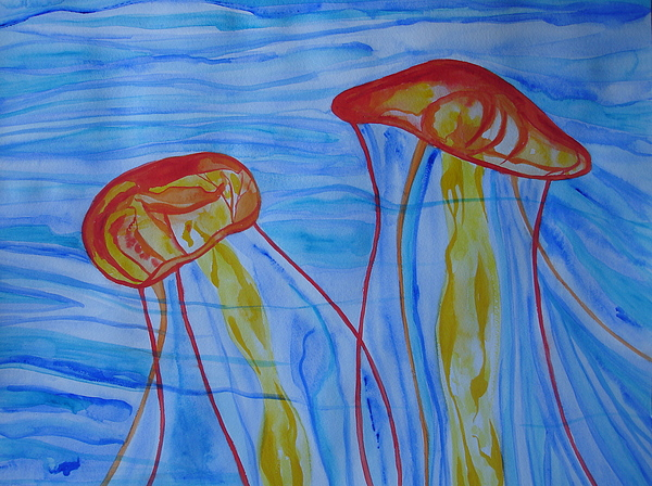 Jellyfish Painting - Psychedelic Lions Mane Jellyfish by Erika Swartzkopf