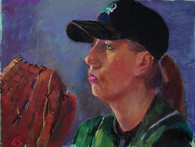 Psyching Out The Batter   Sold Painting by Barbara Noonan