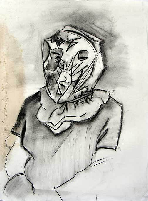 Charcoal Drawing - Psychological Mask by Brad Wilson
