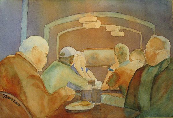 Men Painting - Pub Talk II by Jenny Armitage