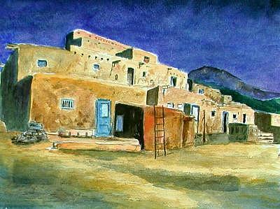 Pueblo With Blue Door Print by Veda Hale
