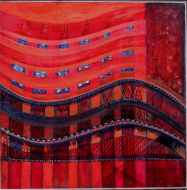 Rojo Painting - Puentes by Carmen Montoya Diaz del Olmo