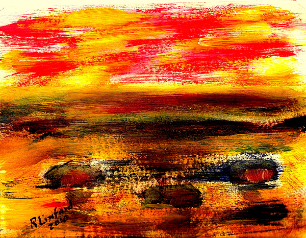 Mexico Painting - Puerto Panasco Beach Houses And Sunset 1 by Richard W Linford