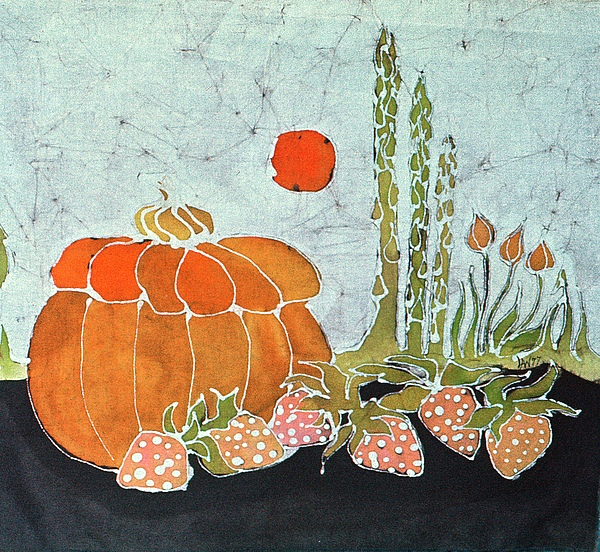 Still Life Tapestry - Textile - Pumpkin And Asparagus by Carol  Law Conklin