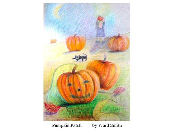 Pumpkin Patch Drawing by Ward Smith