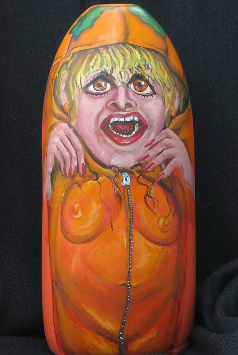 Costume Painting - Pumpkin Woman by Cathi Doherty