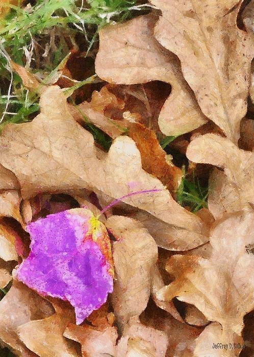 Purple Painting - Punk Leaf by Jeff Kolker