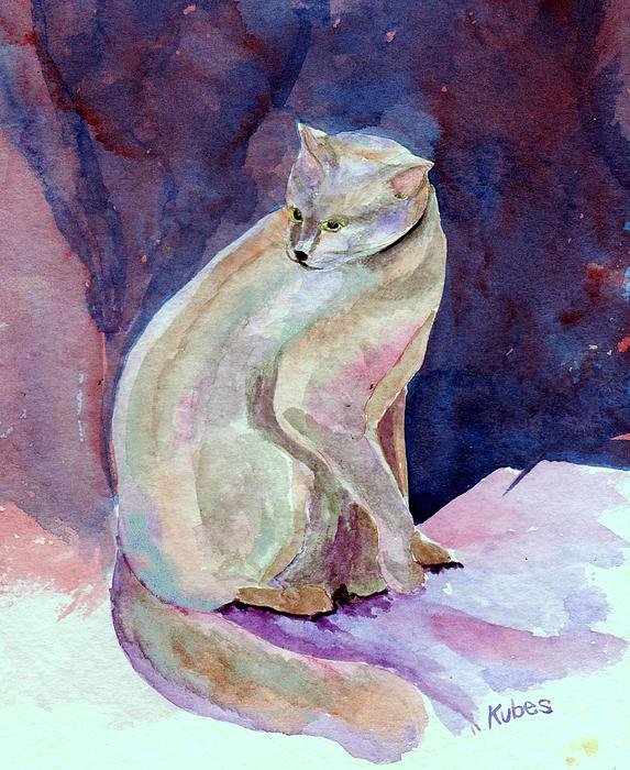 Cat Painting - Purple Cat by Susan Kubes