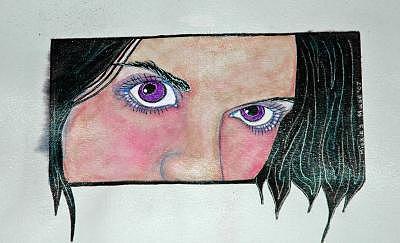 Purple Eyes Painting - Purple Eyes by Mickie Boothroyd