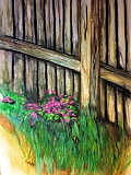 Flowers Painting - Purple Flowers At Fence by Hal Bailey