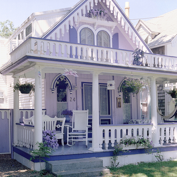 Purple gingerbread house photograph by rose martin for Martha s vineyard house plans