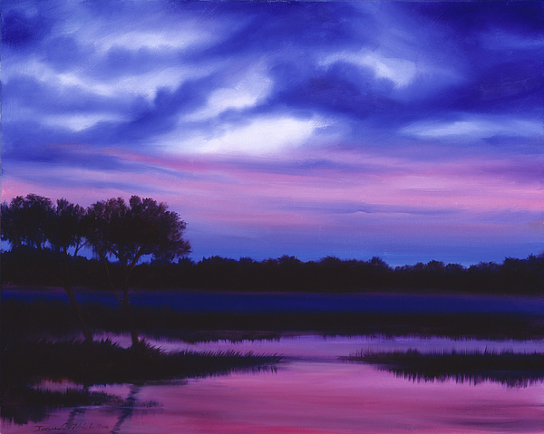Sunrise Painting - Purple Landscape Or Jeans Clearing by James Christopher Hill