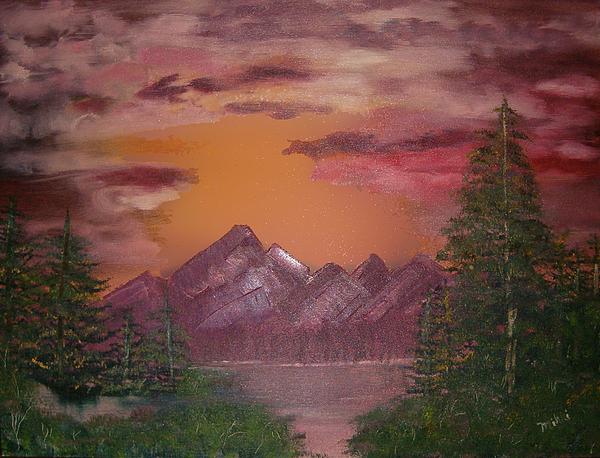 Landscape Painting - Purple Mountain by Mikki Alhart