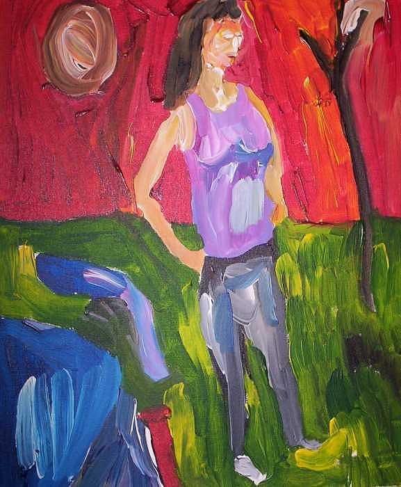 Purple Shirt Painting by John Bisbee
