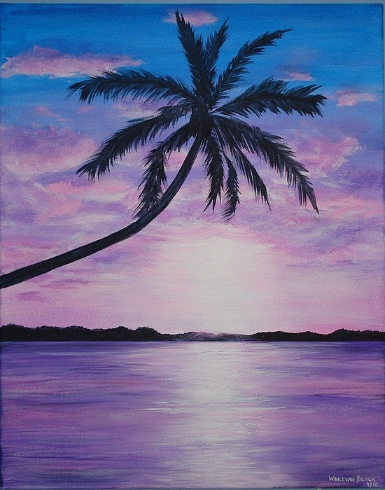 Purple Sunset Painting By Wahleyah Black