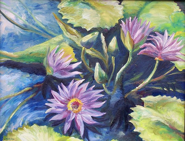 Waterlily Painting - Purple Waterlilies by Laura McMillan