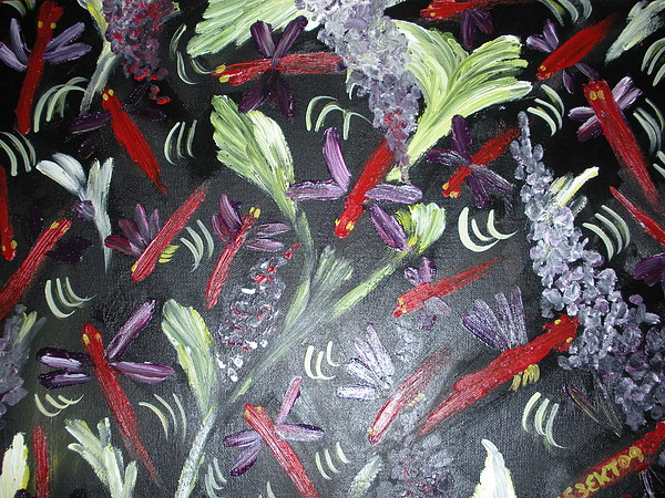 Dragonfly Painting - Purple Wings by Elizabeth AAThompson