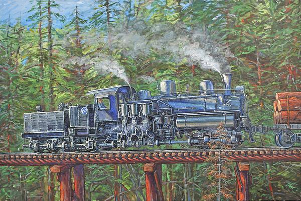 Train Painting - Pushin by Gary Symington