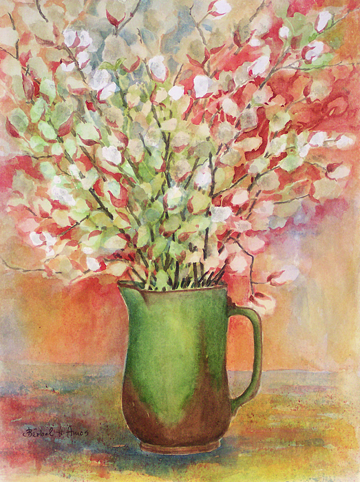Pussy Willow Painting - Pussy Willow And Pitcher by Barbel Amos