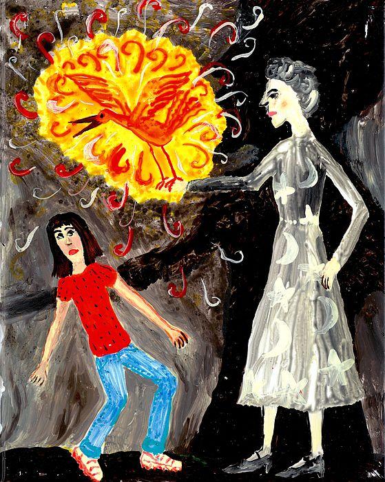 Sue Burgess Painting - Pyro The Firebird by Sushila Burgess