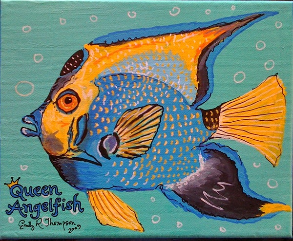 Queen Angelfish Painting by Emily Reynolds Thompson